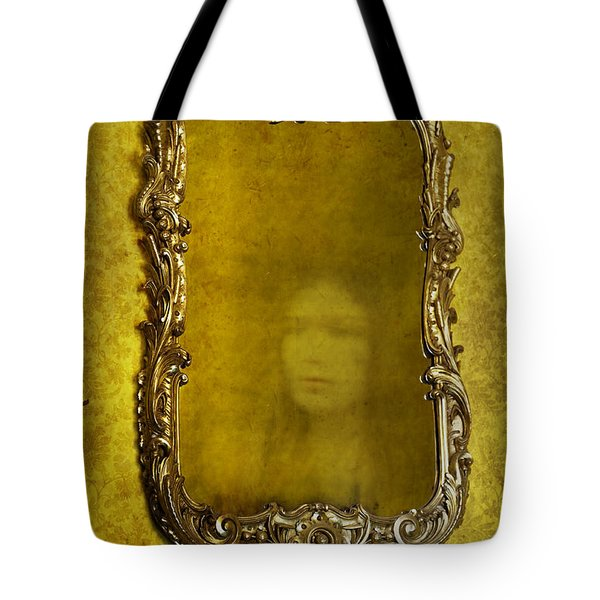 Ghost Of A Woman Reflected In A Mirror Tote Bag by Lee Avison