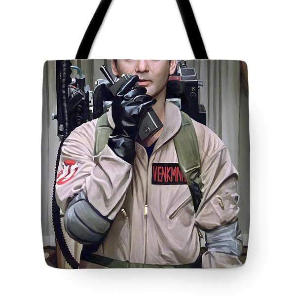 Tote Bag featuring the painting Ghostbusters - Bill Murray Artwork 2 by Sheraz A