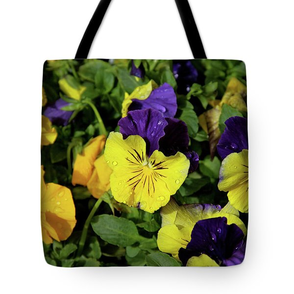 Giant Garden Pansies Tote Bag by Ed  Riche