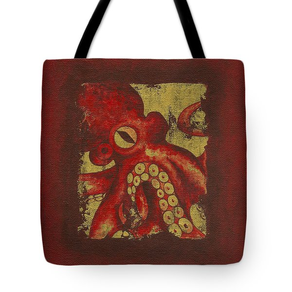 Giant Red Octopus Tote Bag