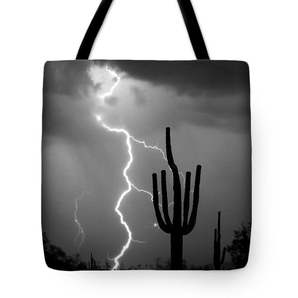 Giant Saguaro Cactus Lightning Strike Bw Tote Bag