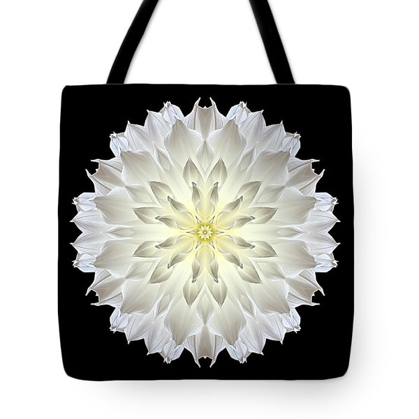 Giant White Dahlia Flower Mandala Tote Bag