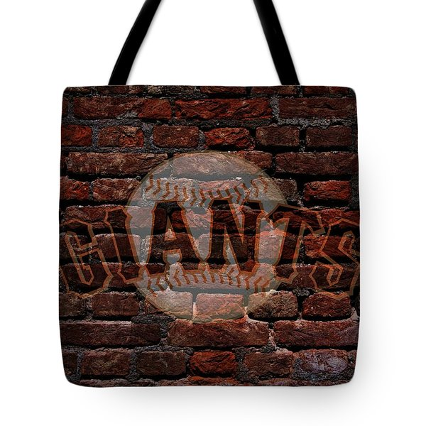Giants Baseball Graffiti On Brick  Tote Bag