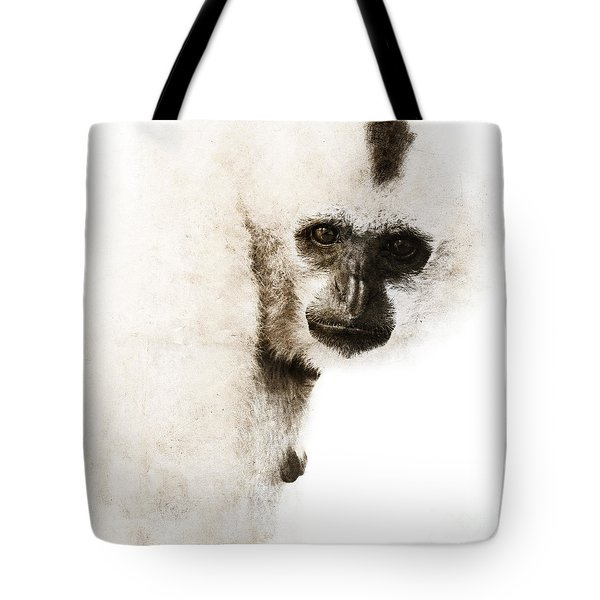 Tote Bag featuring the digital art Crested Gibbon #1 by Nola Lee Kelsey