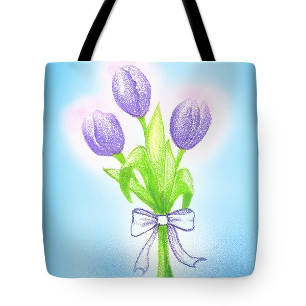 Tote Bag featuring the drawing Gift by Keiko Katsuta