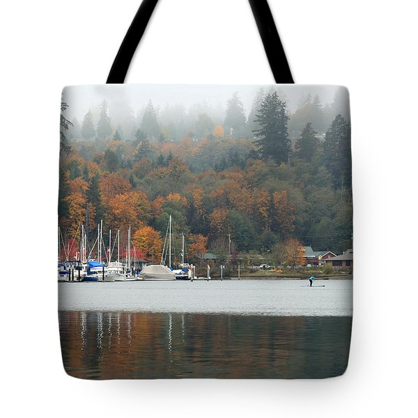 Gig Harbor In The Fog Tote Bag