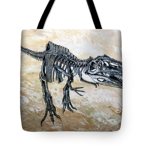 Giganotosaurus Skeleton Tote Bag by Harm  Plat