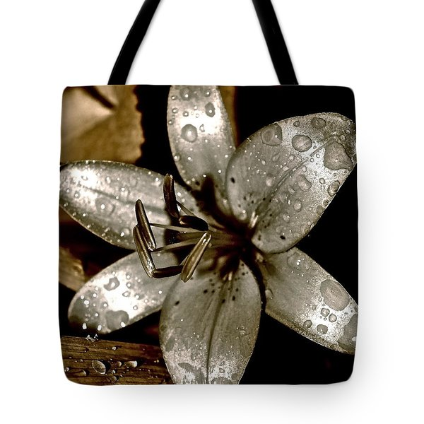 Gilded  Lilies 2 Tote Bag by Linda Bianic