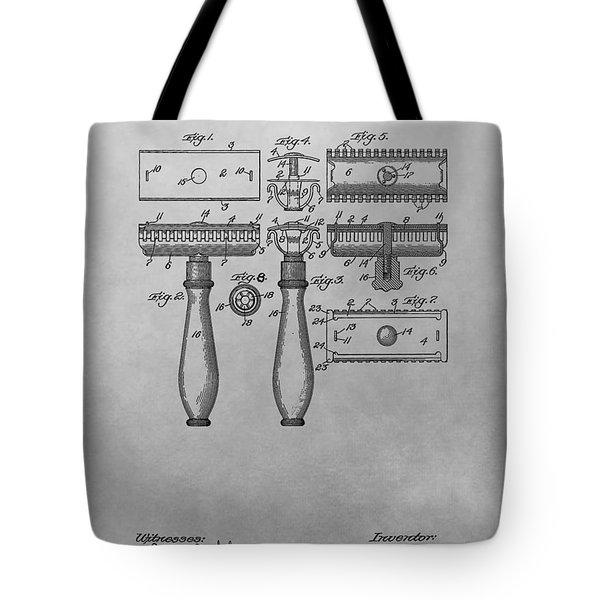 Gillette Razor Patent Drawing Tote Bag