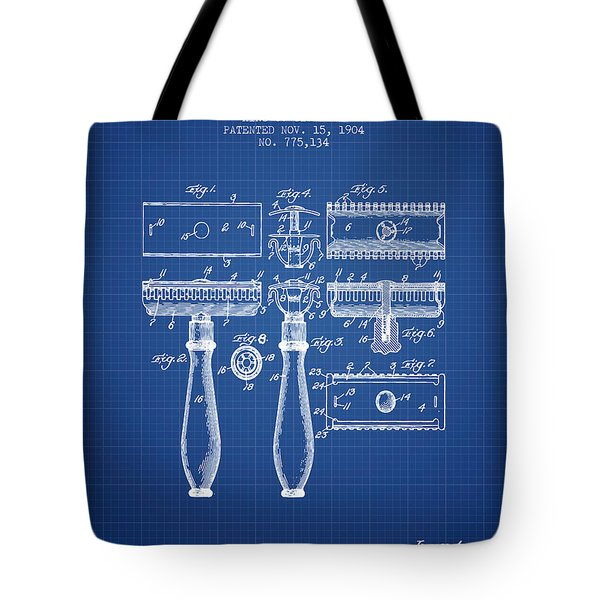 Gillette Razor Patent From 1904 - Blueprint Tote Bag