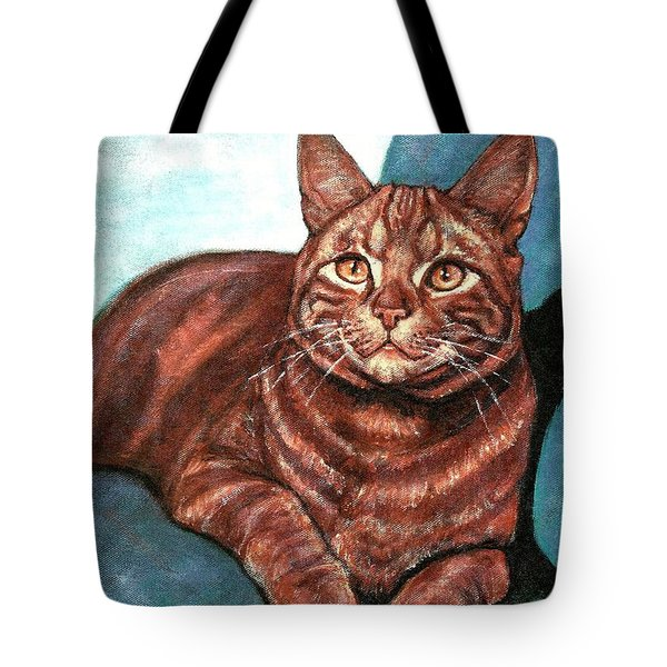 Tote Bag featuring the painting Ginger Tabby by VLee Watson