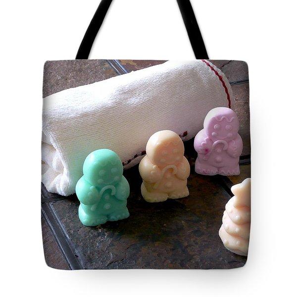 Gingerbread Men Soap Tote Bag by Anastasiya Malakhova