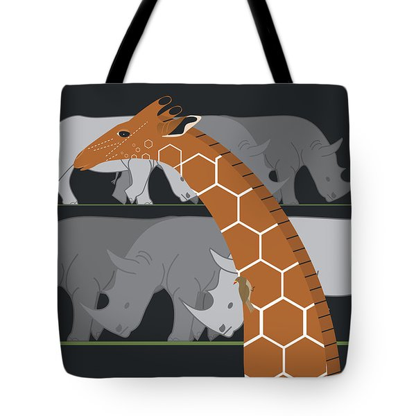 Giraffe And Rhinos Tote Bag