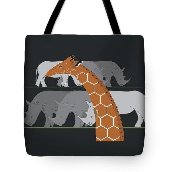 Giraffe And Rhinos Tote Bag