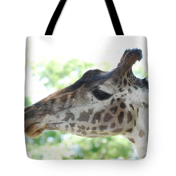 Giraffe Chewing On A Tree Branch Tote Bag by DejaVu Designs