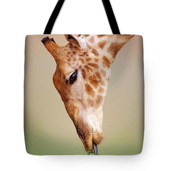 Giraffe Eating Close-up Tote Bag