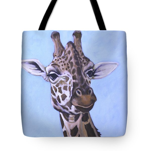 Tote Bag featuring the painting Giraffe Eye To Eye by Penny Birch-Williams