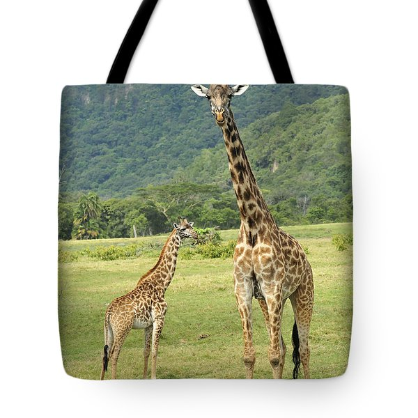 Giraffe Mother And Calftanzania Tote Bag