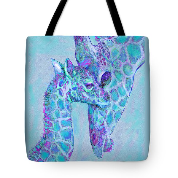 Tote Bag featuring the digital art Giraffe Shades  Purple And Aqua by Jane Schnetlage