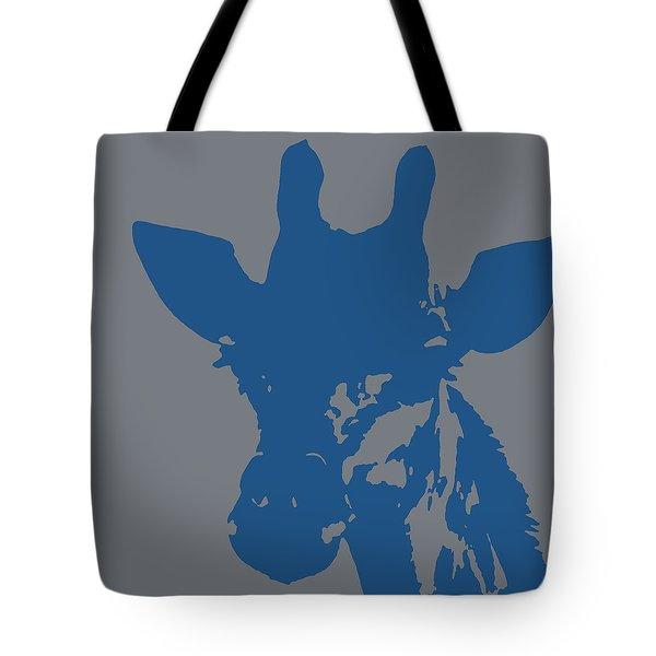 Giraffe Silhouette Grey Blue Tote Bag