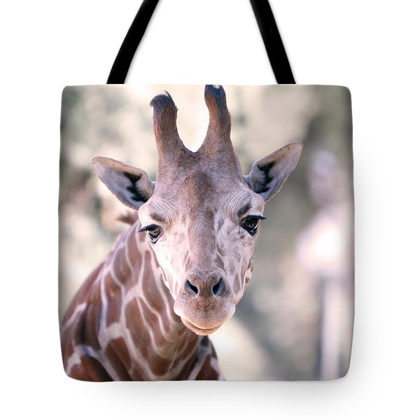 Tote Bag featuring the pyrography Giraffe Staring  by Shoal Hollingsworth