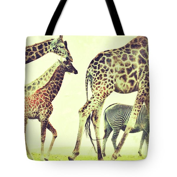 Giraffes And A Zebra In The Mist Tote Bag