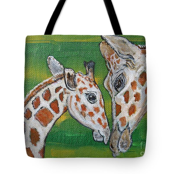 Giraffes Artwork - Learning And Loving Tote Bag