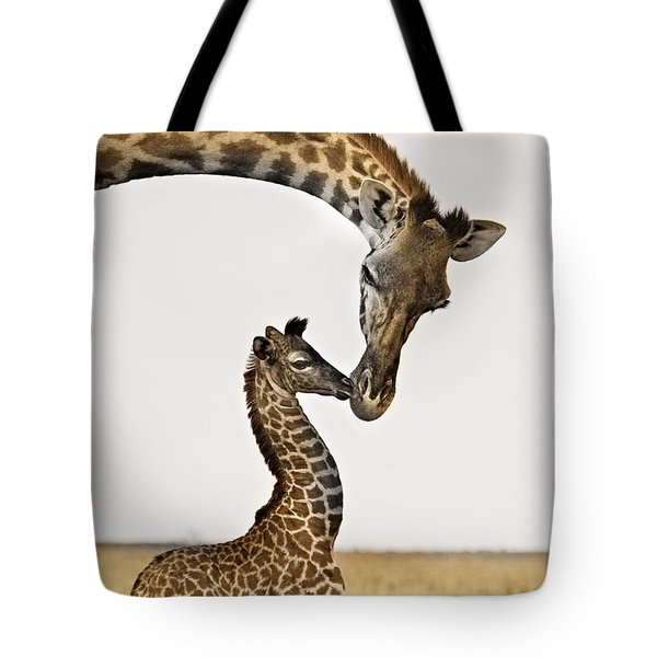 Giraffe's First Kiss Tote Bag