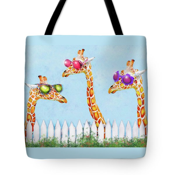 Tote Bag featuring the digital art Giraffes In Sunglasses by Jane Schnetlage