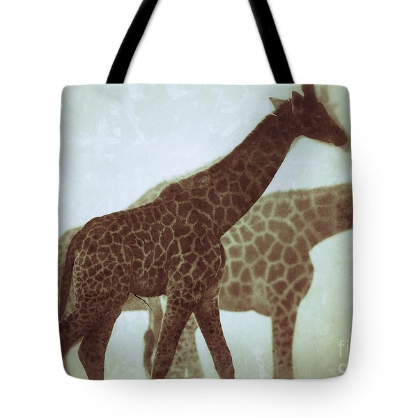 Giraffes In The Mist Tote Bag