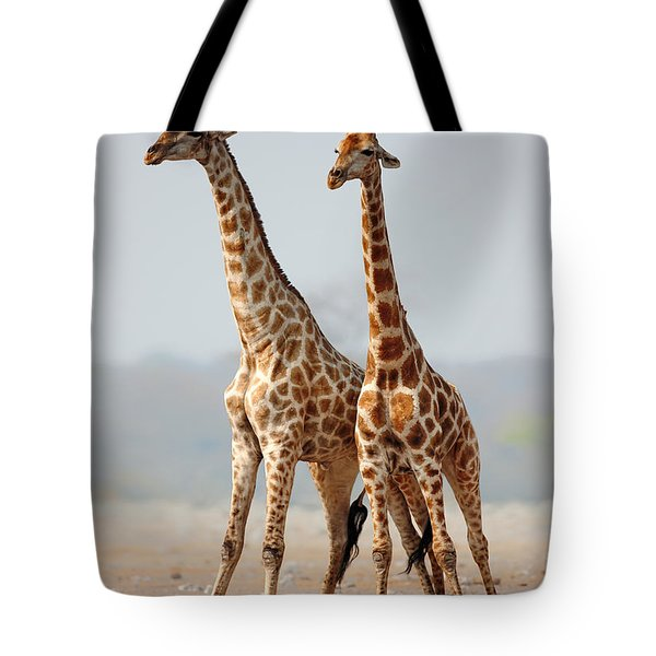 Giraffes Standing Together Tote Bag