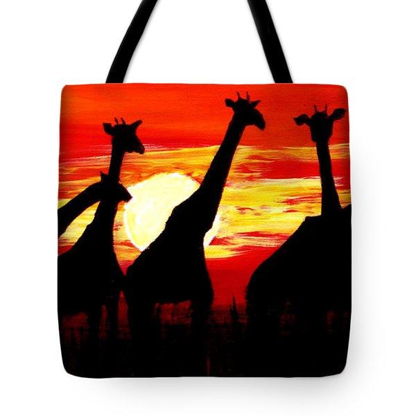 Giraffes Sunset Africa Serengeti Tote Bag