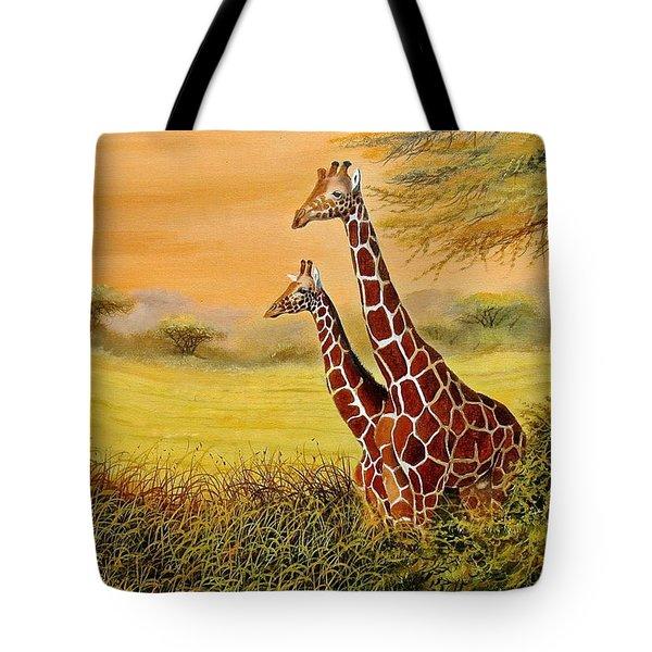 Giraffes Watching Tote Bag