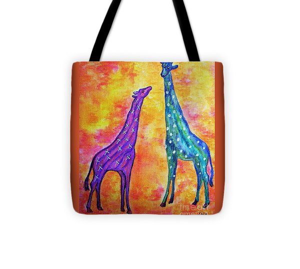 Giraffes With X's And O's Tote Bag by Eloise Schneider