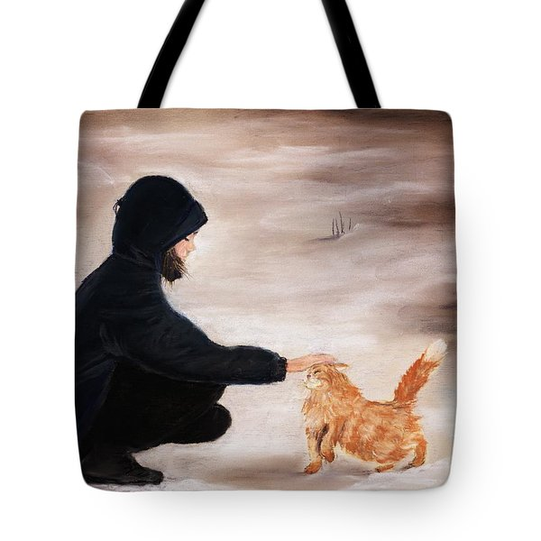 Girl And A Cat Tote Bag by Anastasiya Malakhova