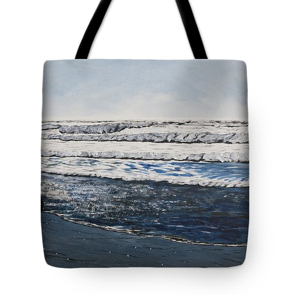 Girl And Dog Walking On The Beach Tote Bag