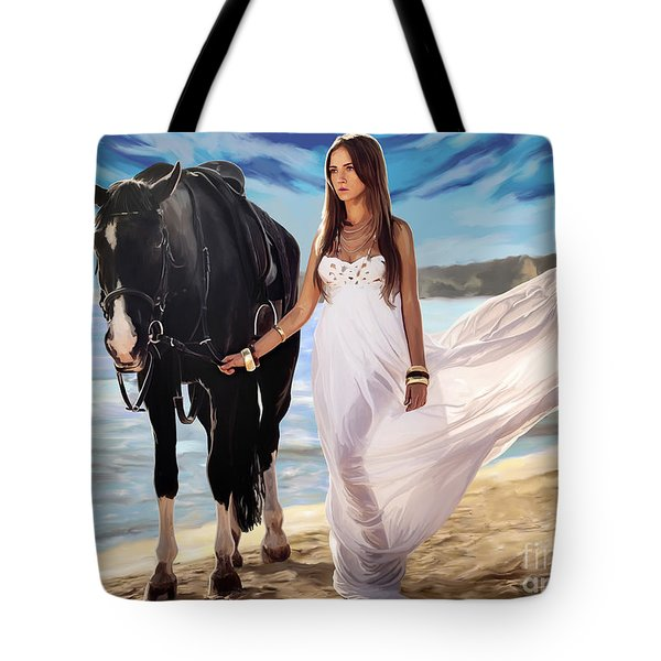 Tote Bag featuring the painting Girl And Horse On Beach by Tim Gilliland
