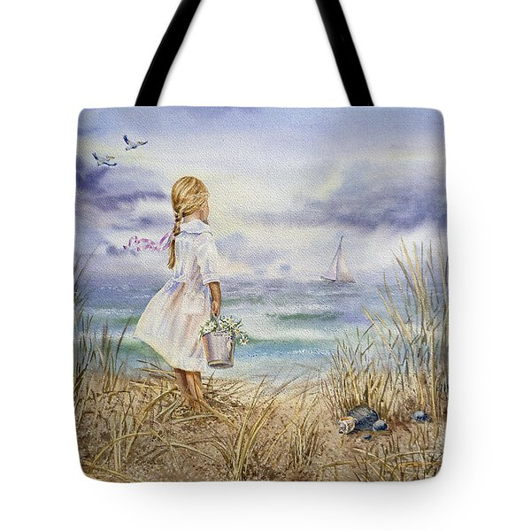Girl At The Ocean Tote Bag