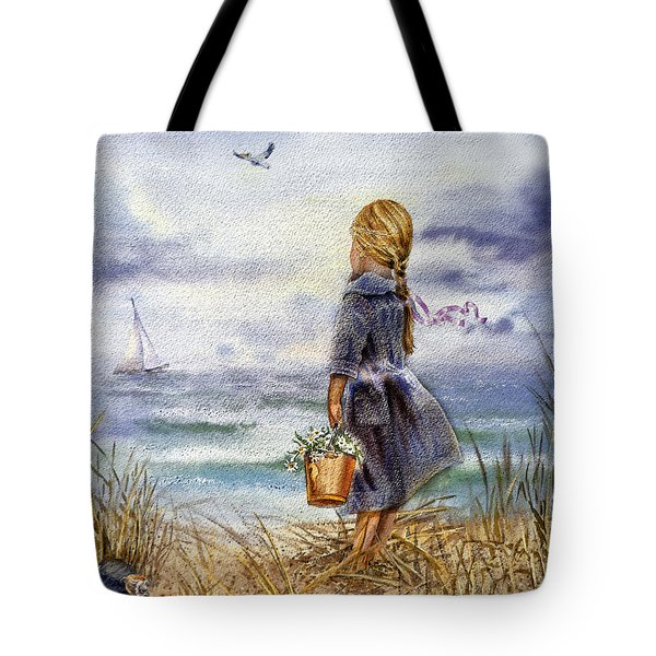 Girl And The Ocean Tote Bag