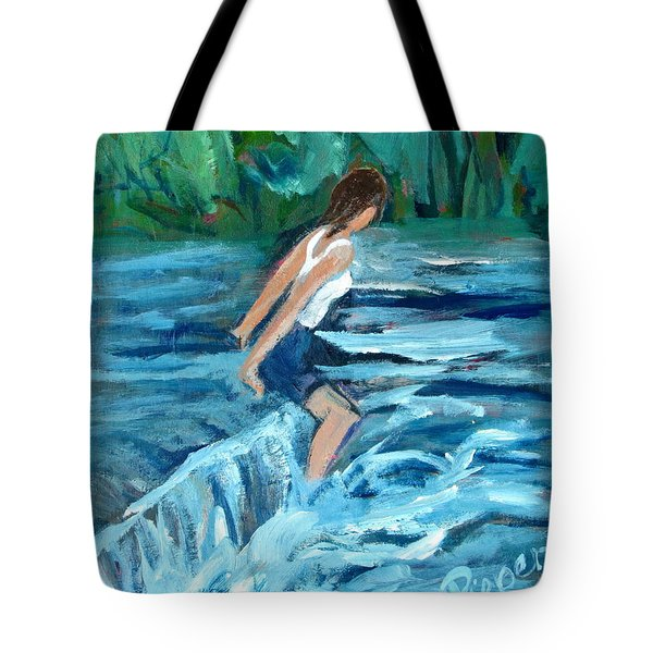 Girl Bathing In River Rapids Tote Bag by Betty Pieper