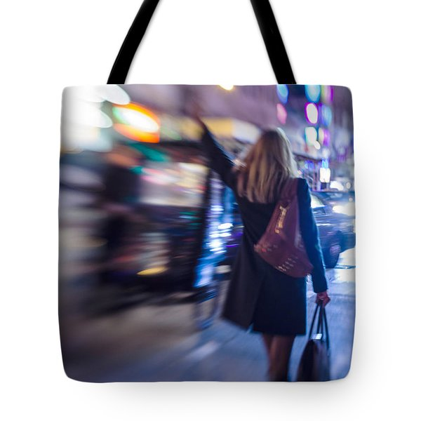 Girl Catching A Taxi In Manhattan Tote Bag