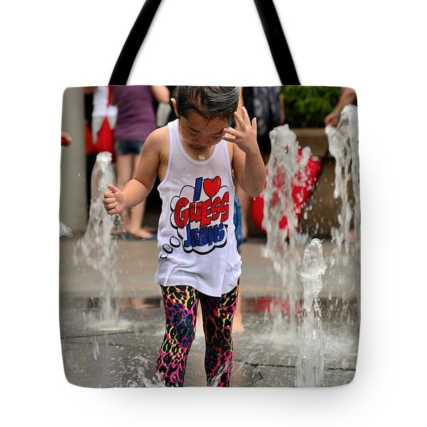 Girl Child Plays With Water At Fountain Singapore Tote Bag