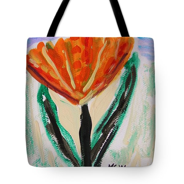 Tote Bag featuring the painting Girl-flowers From The Flower Patch by Mary Carol Williams