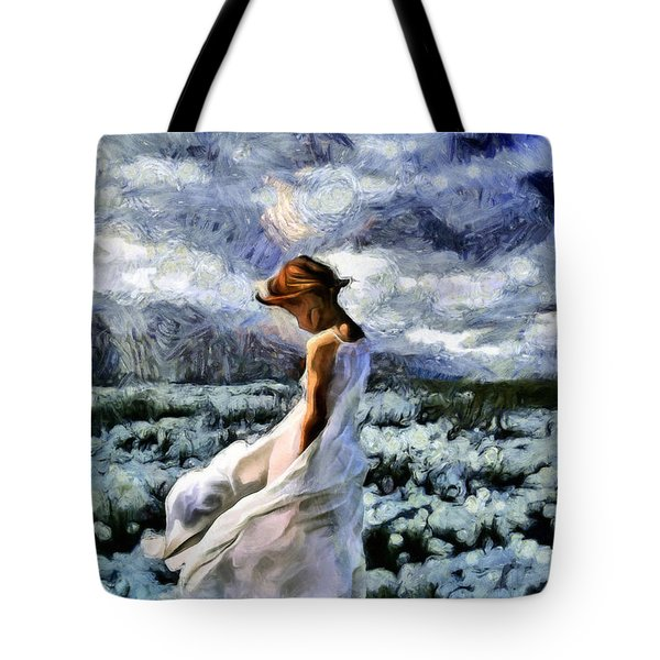 Girl In A Cotton Field Tote Bag