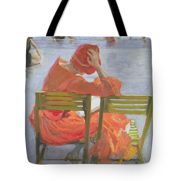 Girl In A Red Dress Reading By A Swimming Pool Tote Bag