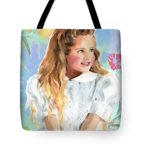 Girl In A White Lace Dress  Tote Bag
