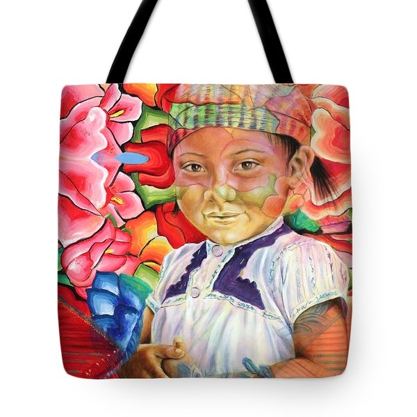 Girl In Flowers Tote Bag by Karina Llergo