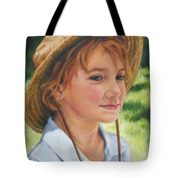 Girl In Straw Hat Tote Bag by Lori Brackett