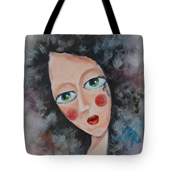 Girl In Tear Tote Bag by Mikyong Rodgers