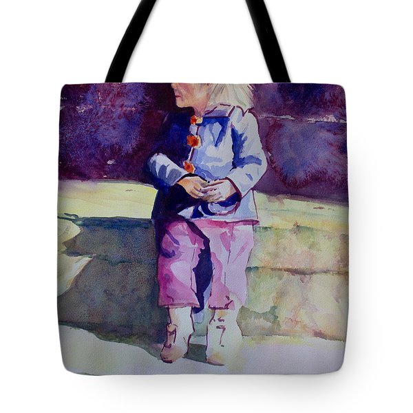 Girl In The Blue Jacket Tote Bag by Janet Felts